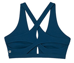 Dark blue medium impact bra.