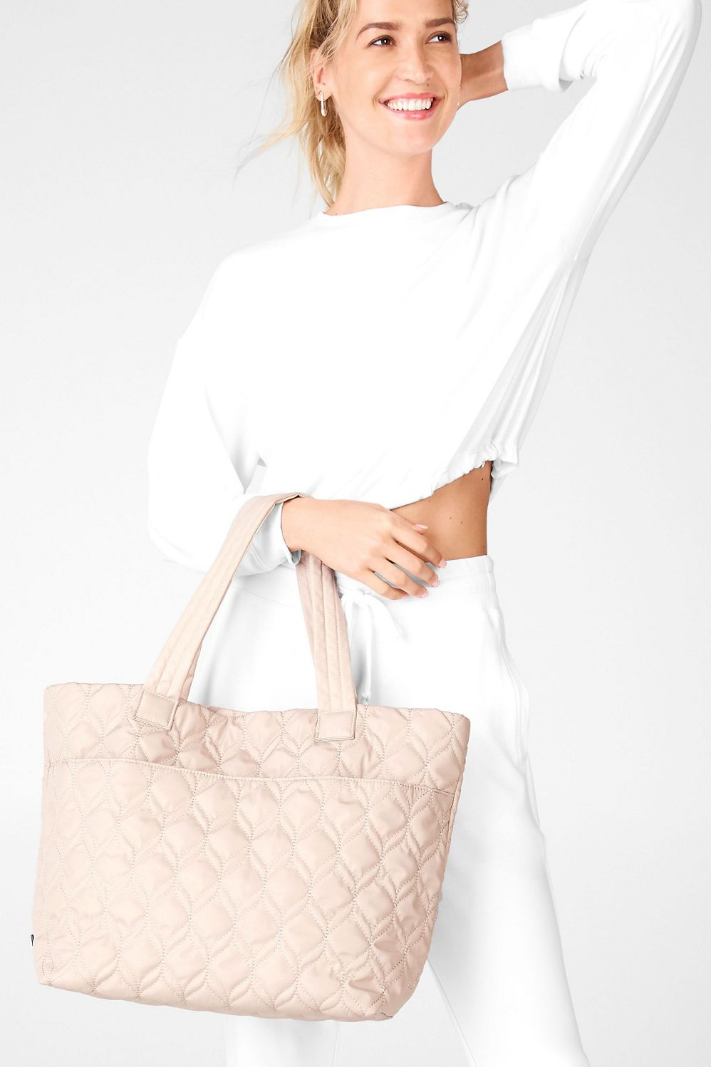 Pale pink/nude quilted tote from Fabletics.