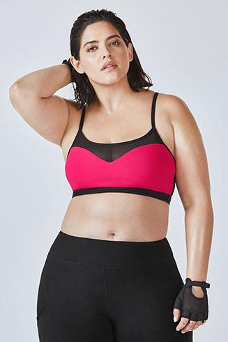 FABLETICS Kate Hudson Snapdragon Reversible Mesh Sports Bra Black Yoga Bra Top L