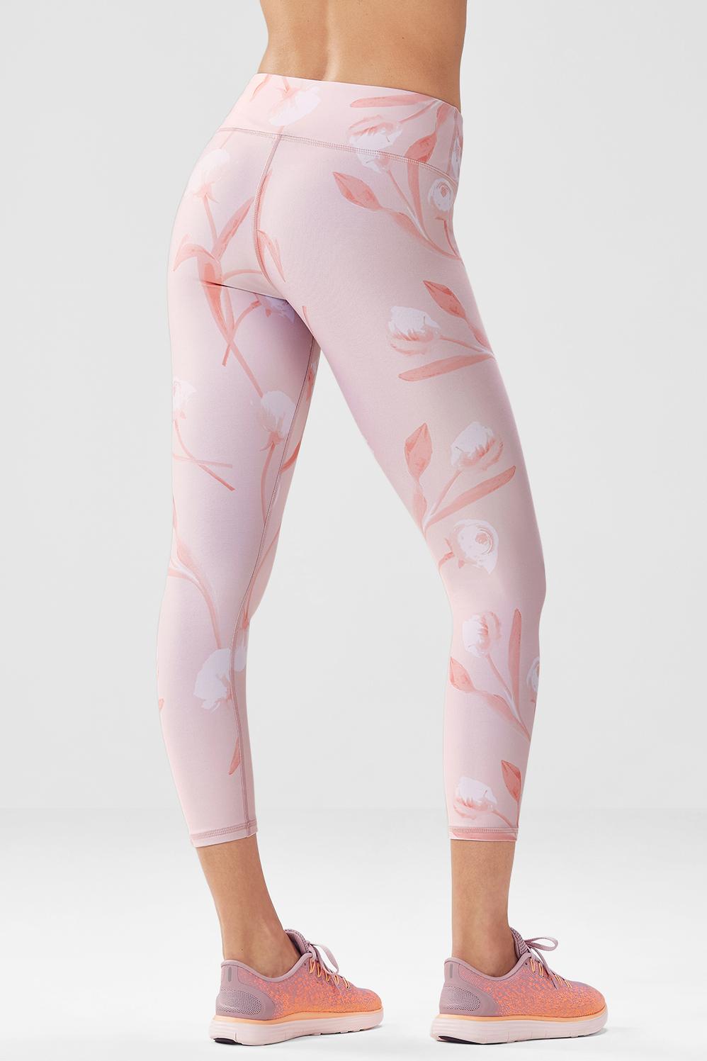 Fabletics Capri Salar Printed Powerhold Womens Pink Size L