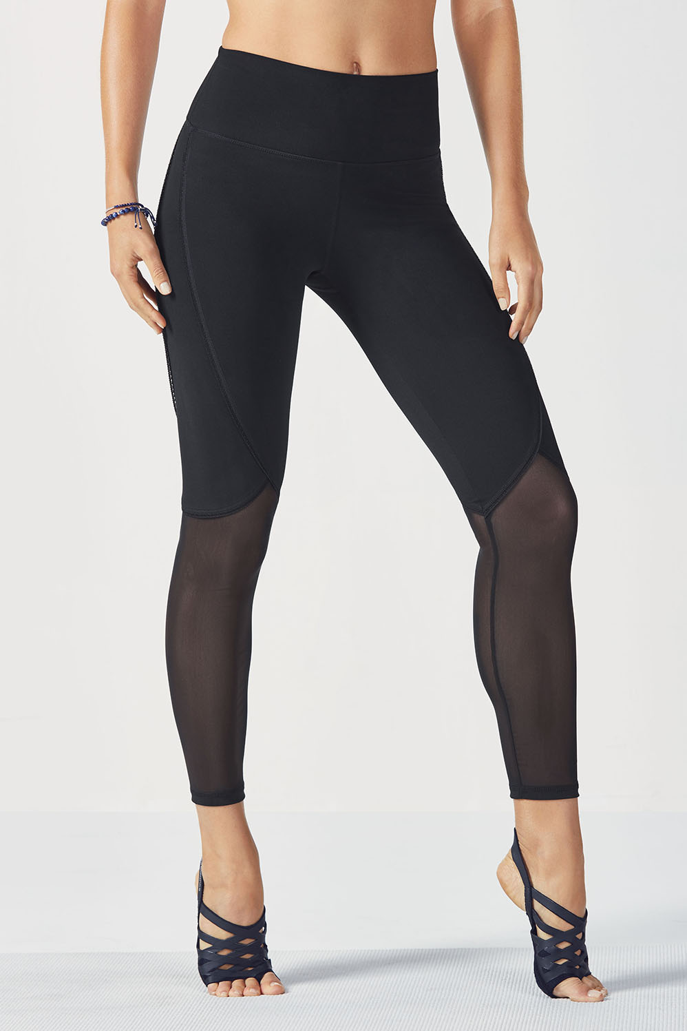 Fabletics Leggings High-Waisted Mesh Powerhold 7/8 Womens Black Size M