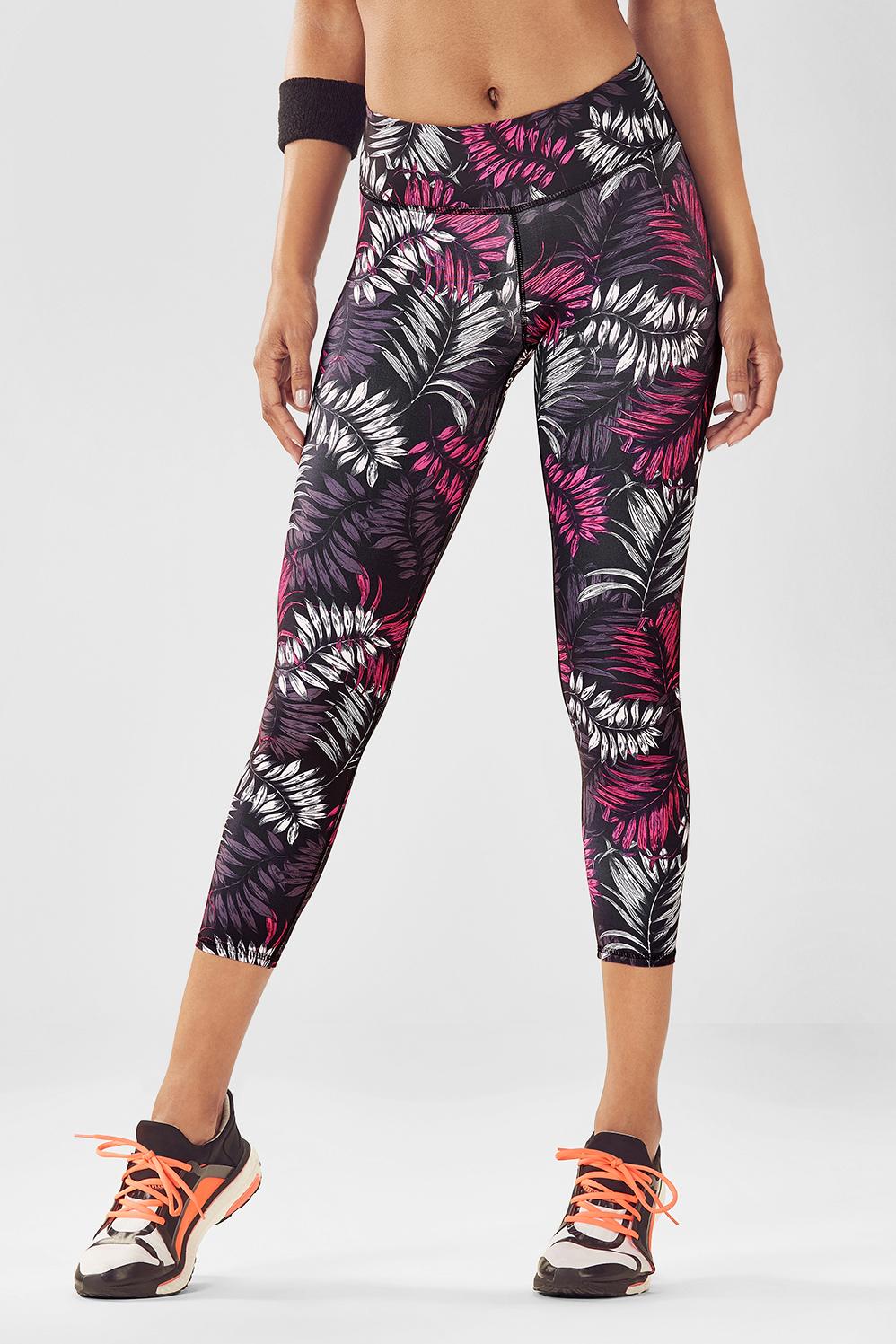 Fabletics Capri Salar Printed Powerlite Womens Pink Size L