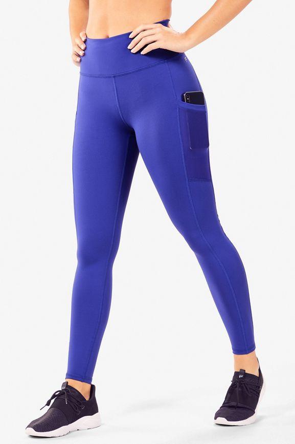 FABLETICS Kate Hudson Blue Black Purple Alessia Mesh Tights Run Yoga Pants sz XS