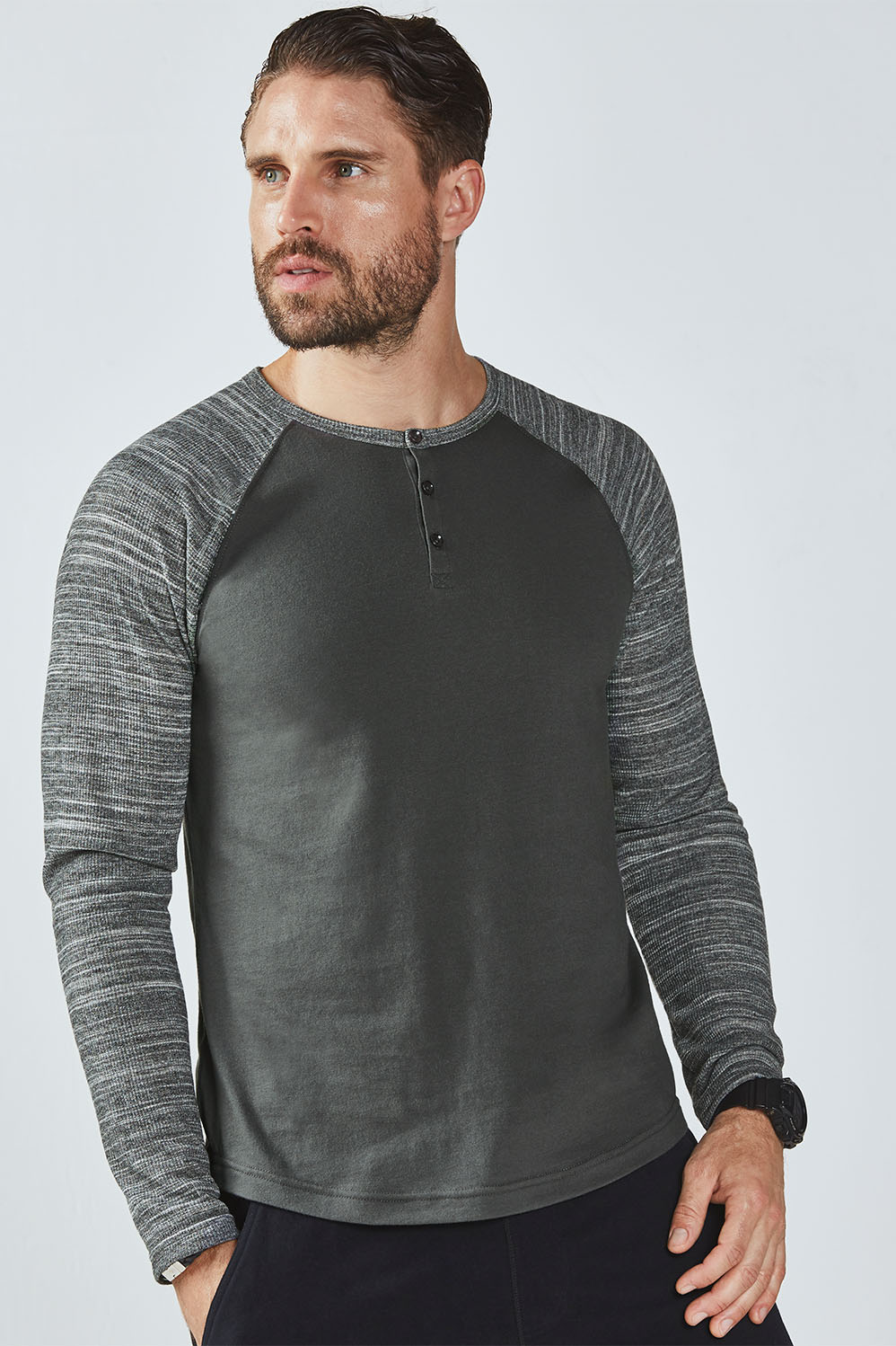 f9ace9e12df4f3 Fusion L/S Henley - Charcoal/Grey Space Dye