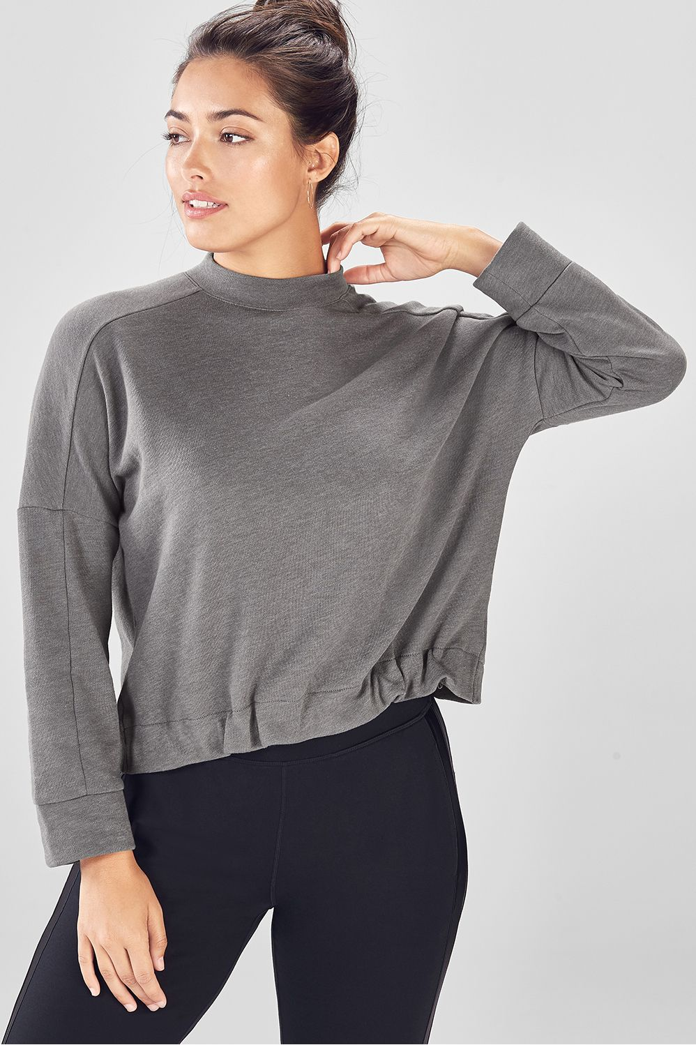 814c284ab Selena Terry High-Low Pullover - Grey Heather