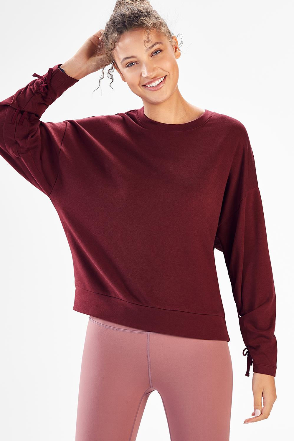 d146b298a33 Sadie Scrunched Sleeve Pullover - Black Cherry