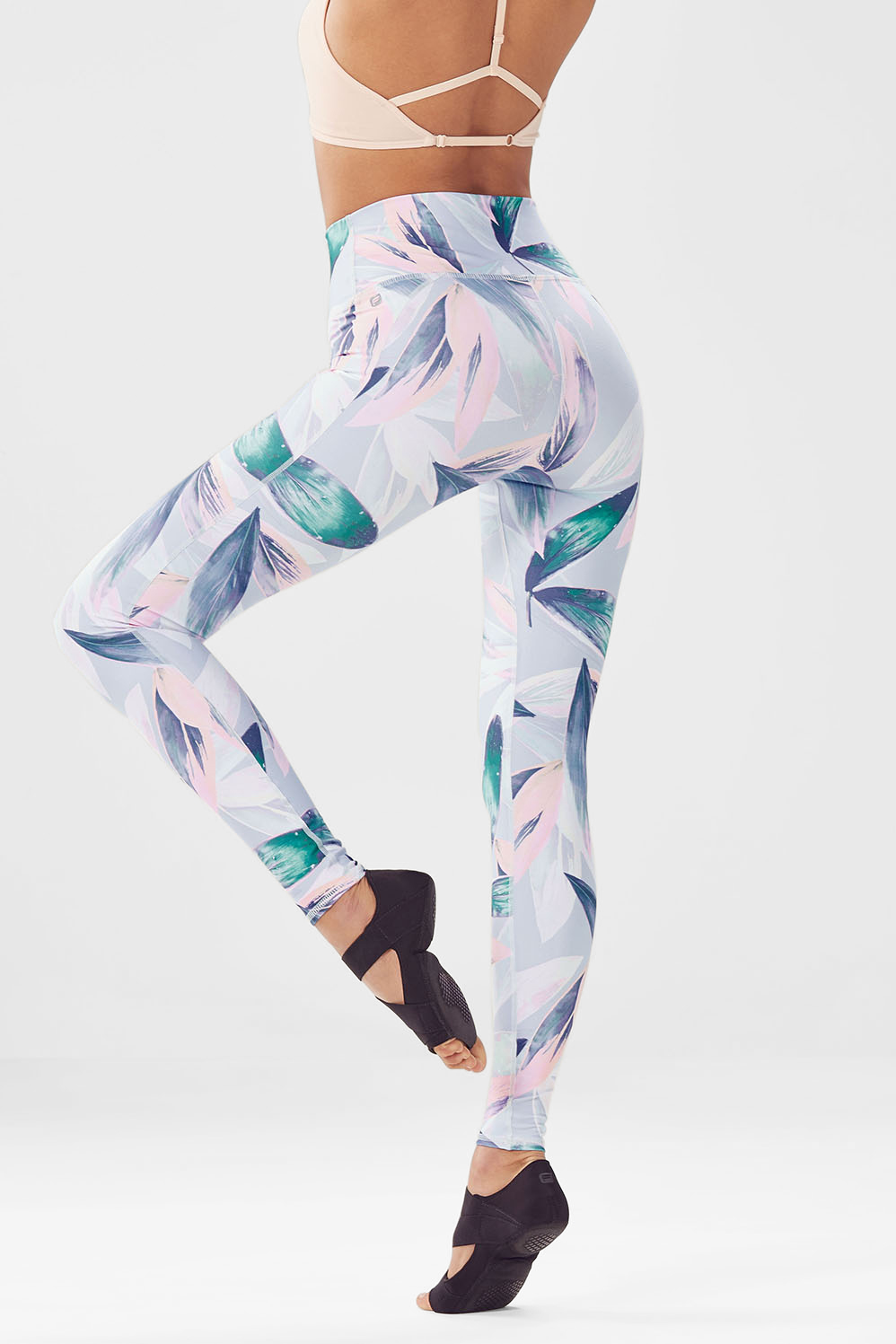 Fabletics Tight High-Waisted Printed Powerhold Legging Womens White/Blue Size XL