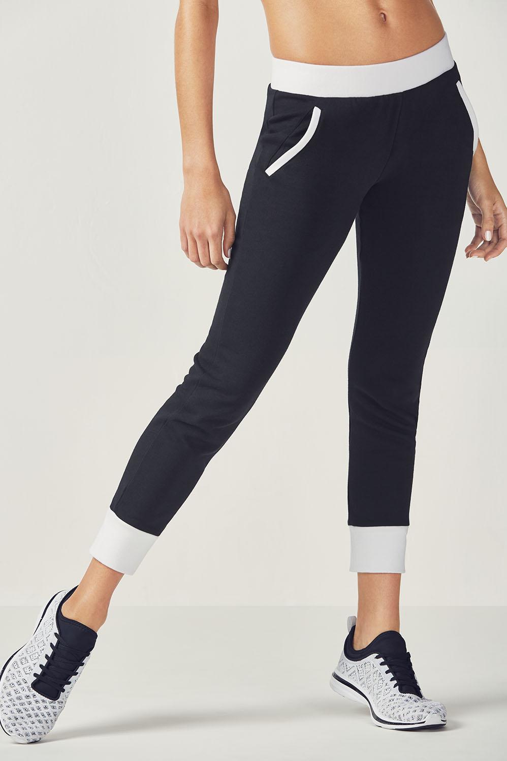 Fabletics Andi Jogger Pants Womens Black/White Size S