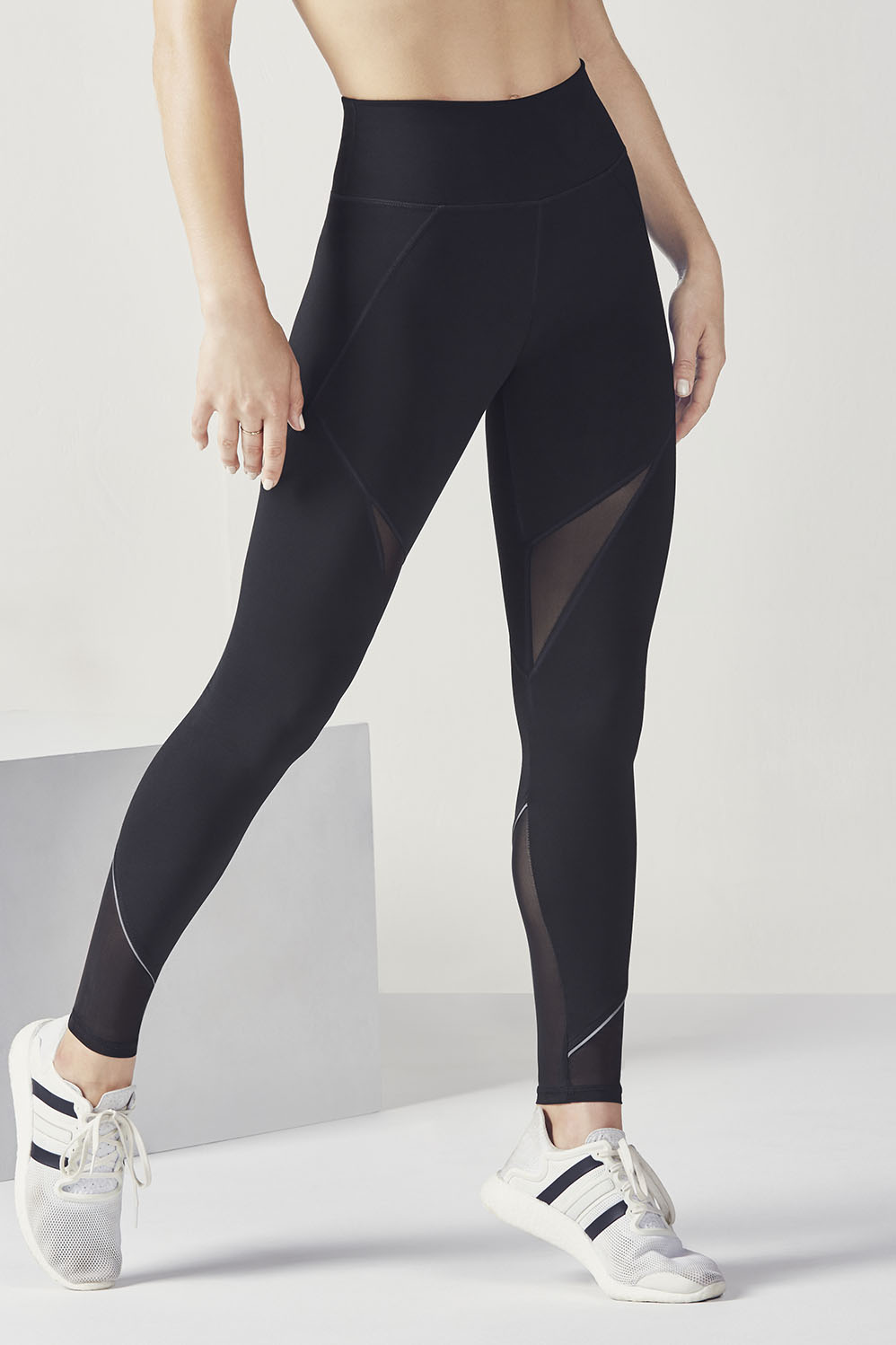 Fabletics Tight High-Waisted Mesh Powerhold Legging Womens Black Size XL