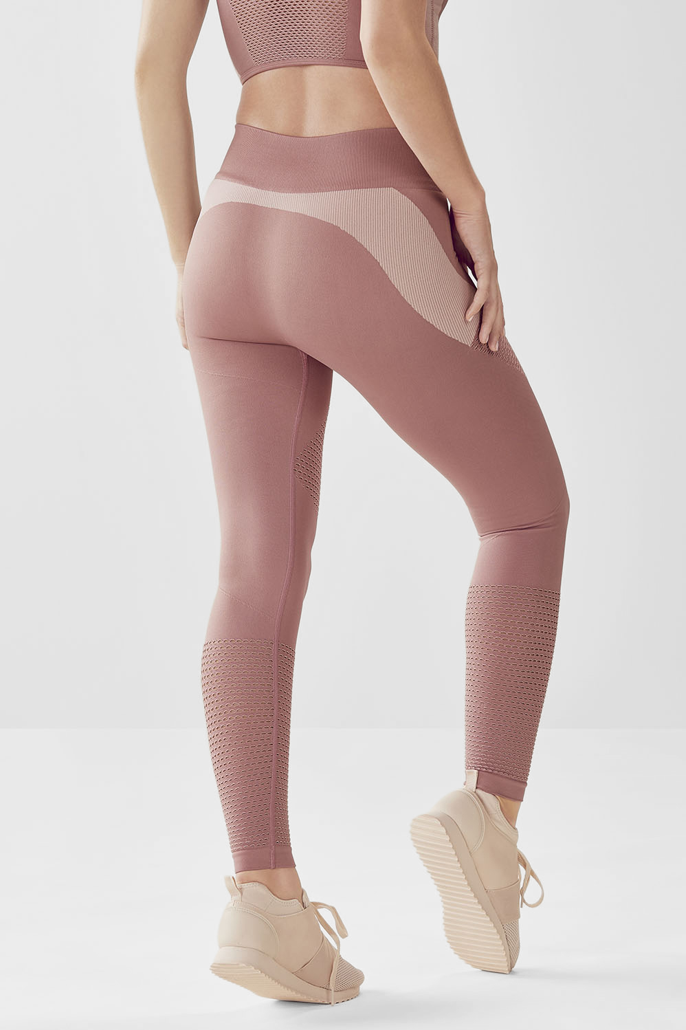 fd2ee294b39e66 Seamless High-Waisted Statement Legging - Vintage Rose/Almond