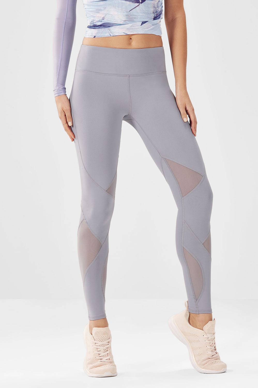 Fabletics Tight Salar Mesh Powerhold Legging Womens Pebble Size XL