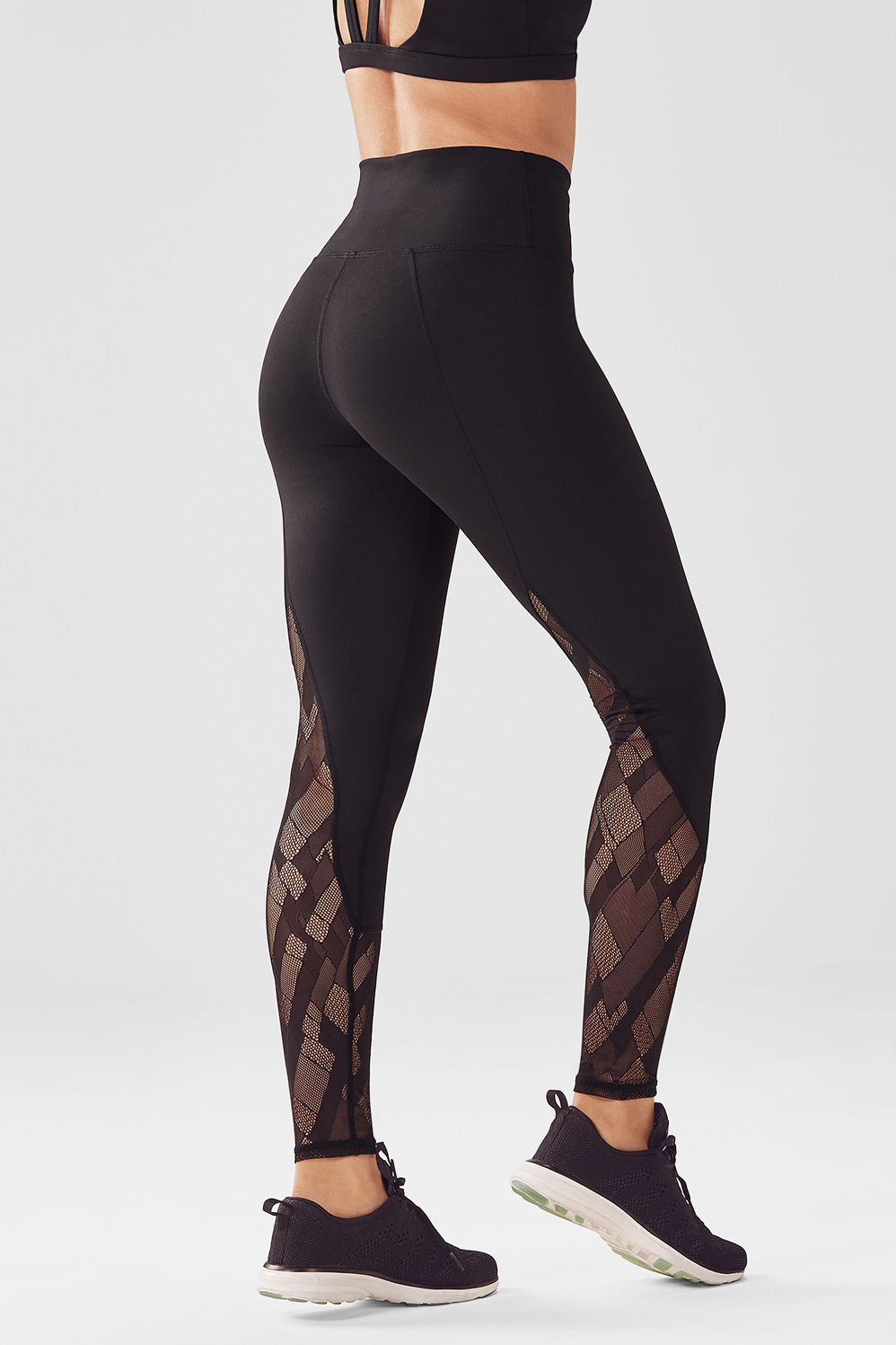 Fabletics Tight High-Waisted Mesh Powerhold Legging Womens Black Size L