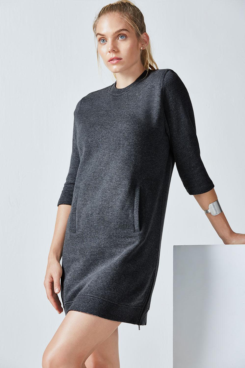 Fabletics Dresses/Rompers Elena Dress Womens Black Heather Size XXS
