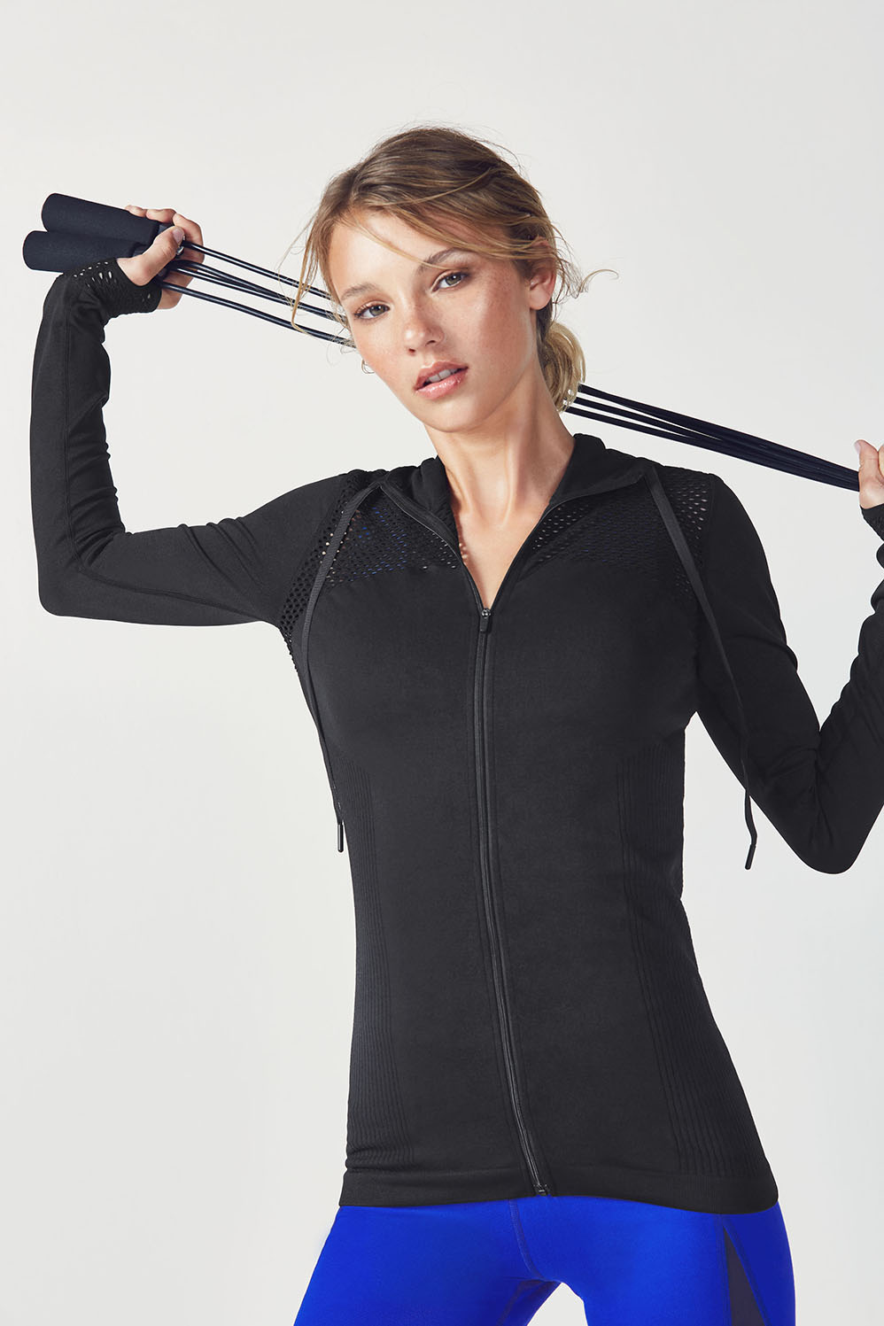 Fabletics Hoodies Mona Hoodie Womens Black Size XXS Get hooked on a hoodie with a seamless second-skin feel, cool multi-texture design and built-in thumbholes. If that's not convincing enough, it's built with fabric that fights sweat like a champ. Built-In Thumbholes, Multi-Texture Paneling, Zipper Closure, Moisture-Wicking, Seamless Fabric, Fit. Fitted, Length. Hip, Fabric Content. 92% Nylon/8% Spandex